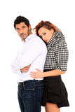 Young couple fashion portait. Young couple fashion portrait isolated on a white background Stock Images
