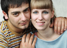 Young couple feeling happy. Look at camera royalty free stock images