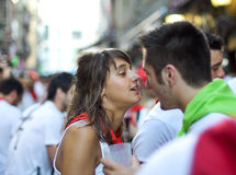 Young couple at festival of San Fermin Stock Image