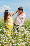 Young couple on field of flowers. In sunny day Stock Photo