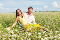 Young couple on field with fresh flowers Royalty Free Stock Images