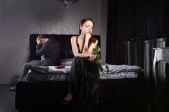 Young Couple Fighting While at the Bedroom Royalty Free Stock Image