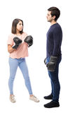 Young couple fighting with boxing gloves Royalty Free Stock Photo