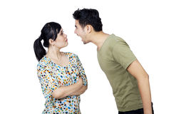 Young Couple Fighting Isolated Stock Image