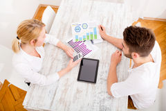 Young couple and financial planning Stock Photos