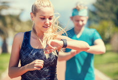 Young couple finishing jogging Stock Images