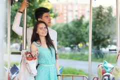 Young couple on the first date. In the city park Royalty Free Stock Photos