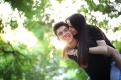 Young couple on the first date. In the city parkr Stock Image