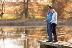 Young couple fishing Stock Photography