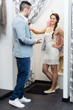 Young couple at fitting room Stock Photography