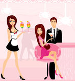 Young couple flirt and drink champagne Royalty Free Stock Images
