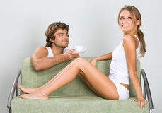 Young couple flirting Stock Photography