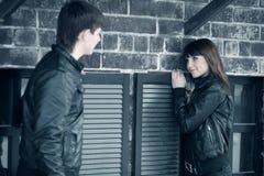 Young couple flirting Stock Photos
