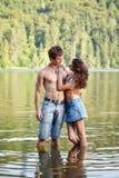 Young couple flirting stock photo