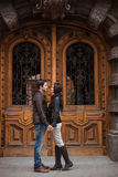 Young couple flirting outdoors Stock Photos