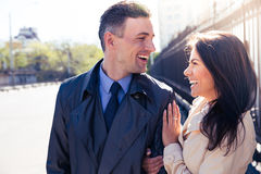 Young couple flirting outdoors Royalty Free Stock Images