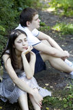 Young couple flirting in the park Stock Image