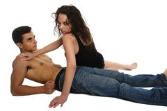 Young couple on the floor Royalty Free Stock Photos