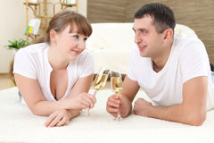 Young couple on a floor Stock Photo