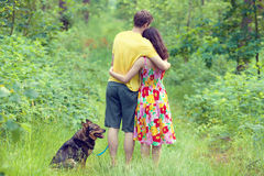 Young couple in the forest Stock Image