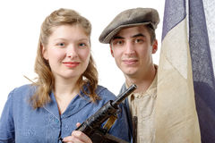 Young couple of french resistant to the liberation in 1944 Royalty Free Stock Image