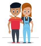 Young couple of friends. Icon vector illustration graphic design Royalty Free Stock Photography