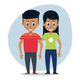 Young couple of friends. Icon vector illustration graphic design Stock Photo