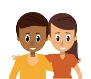 Young couple of friends. Icon vector illustration graphic design Stock Images