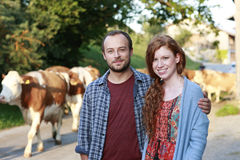 Young couple in front of a herd of cows Stock Images