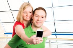 Young couple take self-portrait Stock Photo
