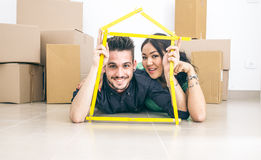 Young couple getting new house Stock Image