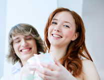 Young couple with a gift Stock Photo