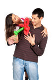 Young couple gift balloon flower valentine isolate stock images