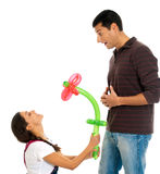 Young couple gift balloon flower valentine isolate. Young couple gift balloon flower valentines day isolated on white background Royalty Free Stock Photo
