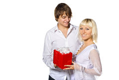 Young couple with gift box Royalty Free Stock Image
