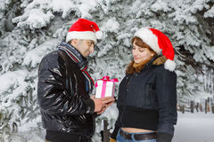 Young couple with gift box Royalty Free Stock Images
