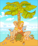 Young couple, girl and guy are together under the palm-tree. Sunny summer love. These girlfriend and boyfriend are preparing their exams under the palm-tree Stock Images