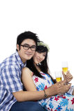 Young couple with glasses of champagne Stock Image