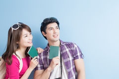 Young couple go to travel Stock Images
