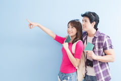 Young couple go to travel Stock Photo
