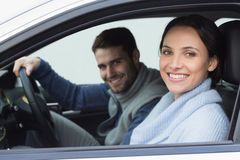 Young couple going for a drive stock photo