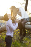 Young couple going to kiss in park Stock Photo