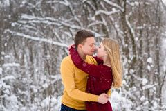 Young couple going to kiss in winter park. Romantic kiss during snowfall Royalty Free Stock Photo