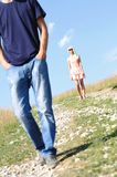Young couple on grass Royalty Free Stock Photography