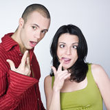 Young couple grimacing Stock Photo