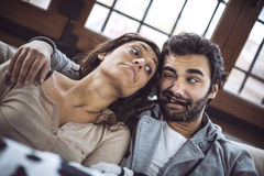 Young couple grimacing and having fun Royalty Free Stock Images
