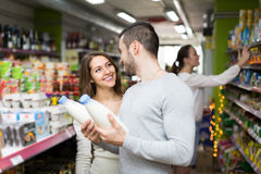 Young couple at grocery Stock Photos