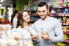 Young couple at grocery Stock Photo