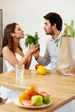 Young Couple with Grossery Bag full of Vegetables. Healthy Lifes royalty free stock photos