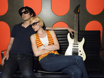 Young Couple With Guitar In Recording Studio Stock Photos